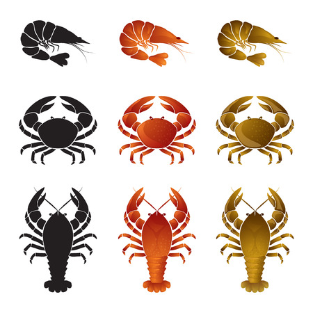 Set of seafood icons - shrimp (prawn), crab and lobster(omar, crayfish) Illustration