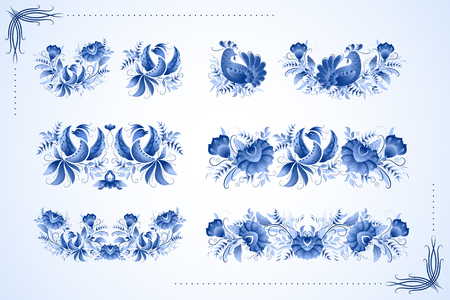 Classic ceramic ornament birds, basen on european porcelain and russian traditional ornaments