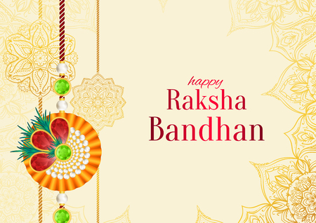 Raksha Bandhan vector background. Rakshabandhan greeting card with rakhi (a talisman or amulet). Hindu festival to symbolize the love between a brother and a sister. Vector Illustration