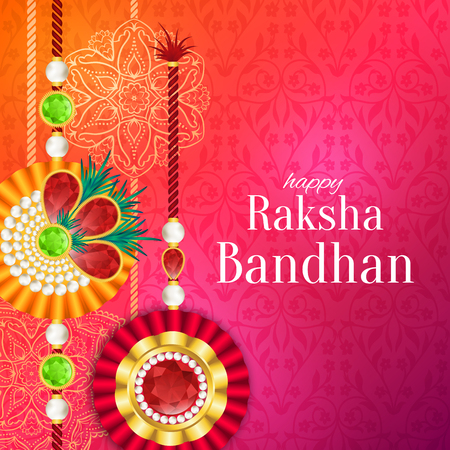 Raksha Bandhan vector background. Rakshabandhan greeting card with rakhi (a talisman or amulet). Hindu festival to symbolize the love between a brother and a sister.