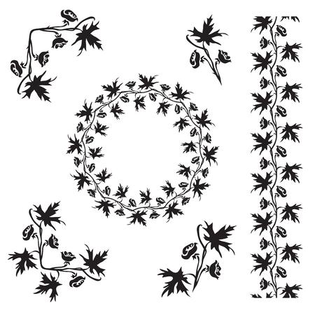 Hand drawn Larkspur (Delphinium) inflorescence decorative silhouette Illustration