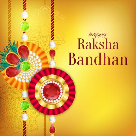 Raksha Bandhan vector achtergrond. Rakshabandhan-wenskaart met rakhi (een talisman of amulet). Hindoe festival om de liefde tussen een broer en een zus te symboliseren.