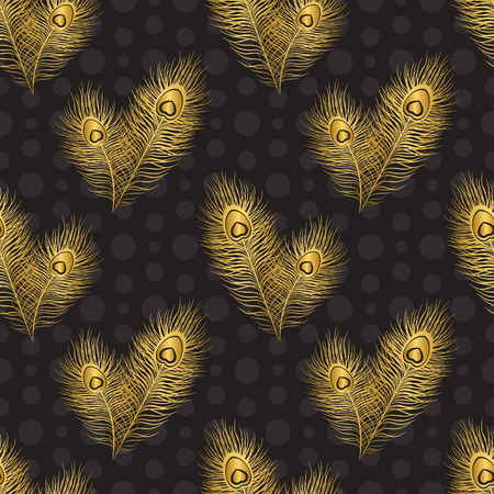 Seamless pattern with peacock feathers, gold and black color Illustration