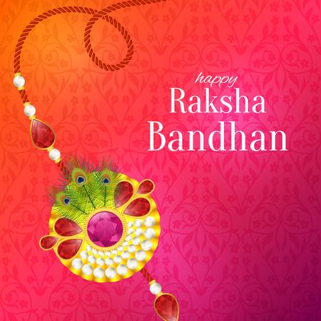 Raksha Bandhan vector achtergrond. Rakshabandhan-wenskaart met rakhi (een talisman of amulet). Hindoe festival om de liefde tussen een broer en een zus te symboliseren. Vector Illustratie