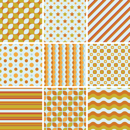 Set of simple seamless patterns in bright colors