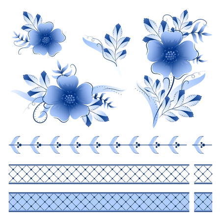 Classic russian ghzel ornament border and floral elements Ilustração