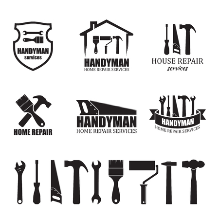 Set of different handyman services icons, isolated on white background. For logo, label or banner Vettoriali