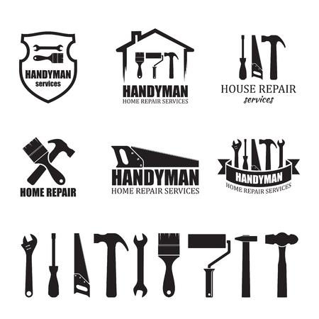 Zestaw ikon różnych usług złota rączka, na białym tle. Logo, etykieta lub baner