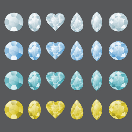 Set of gemstones in different colors. To illustrate diamond, aquamarine, chrystal, zircon or other gem Ilustração