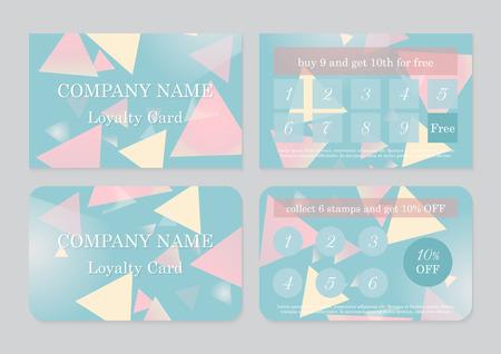 Conjunto de dos plantillas de tarjetas de fidelidad con lugar para texto. Diseño abstracto geométrico Ilustración de vector