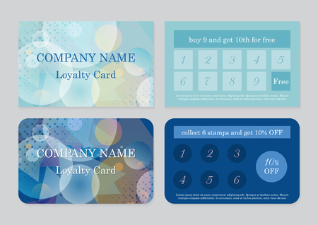 Set of two loyalty card templates  with place for text. Geometric abstract design Illustration