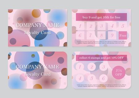 Conjunto de dos plantillas de tarjetas de fidelidad con lugar para texto. Diseño abstracto geométrico