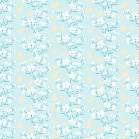 Seamless pattern with silhouette pants and butterflies