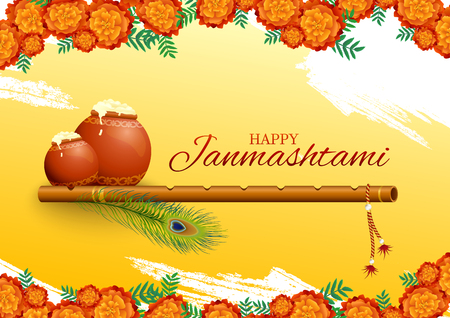 Happy Krishna Janmashtami greeting card with flute, butter pots and peacock feathers