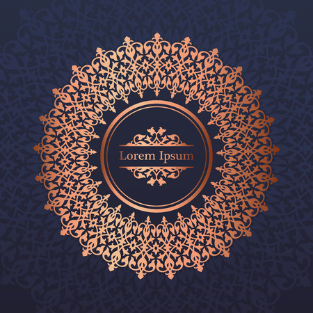 Wedding invitation, thank you card, modern mandala ornament background in deep marine blue and copper color. Vector elegant template