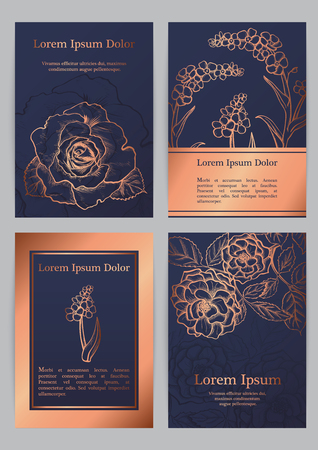 Vector templates for A4 with silhouette english roses and forget-me-nots. For invitation, banner, postcard or flyer.