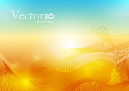 Abstract wave background in orange and blue color, water and sun energy