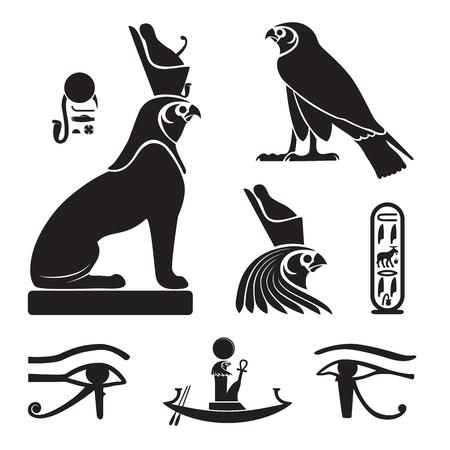 Conjunto de siluetas del antiguo Egipto - Ojo de Horus, Horus como león y halcón, barcaza solar y orla