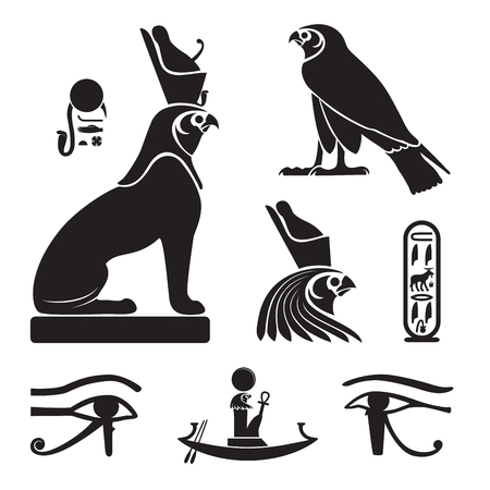 Set of ancient egypt silhouettes - Eye of Horus, Horus as lion and falcon, solar barge and cartouche Ilustração