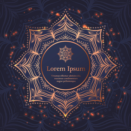 Wedding invitation, thank you card, modern tribal ornament background in deep marine blue and copper color. Vector elegant template