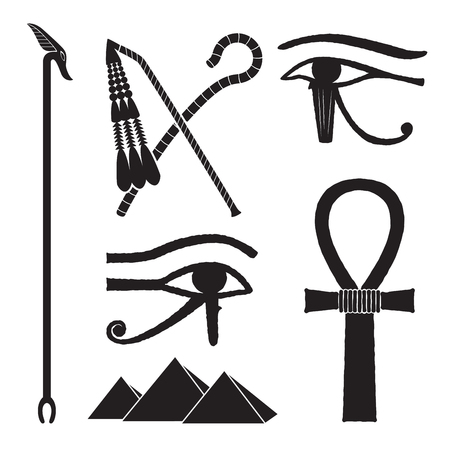 Set of ancient egypt silhouettes - The Crook and Flail, was-scepter, eye of horus and pyramids Ilustrace