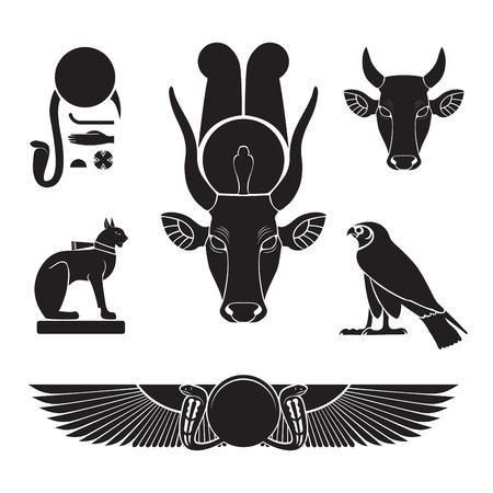 Set of ancient egypt silhouettes - Eye of Ra, Horus as falcon, Bastet as cat, Hathor as cow Ilustracje wektorowe
