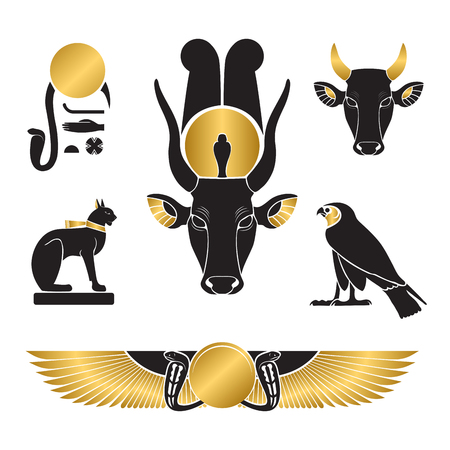 Set of ancient egypt silhouettes - Eye of Ra, Horus as falcon, Bastet as cat, Hathor as cow