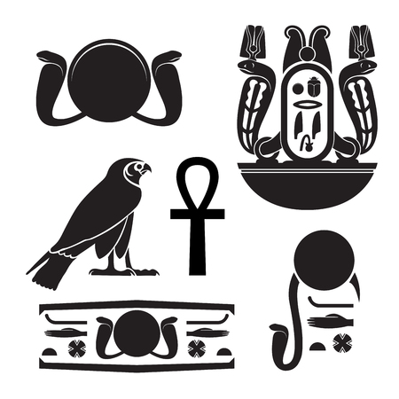 Set of ancient egypt silhouettes - Eye of Ra, Horus as falcon, cartouche with horned vipers, ankh, egyptian hieroglyph