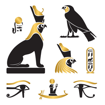 Set of ancient egypt silhouettes - Eye of Horus, Horus as lion and falcon, solar barge and cartouche Ilustracja