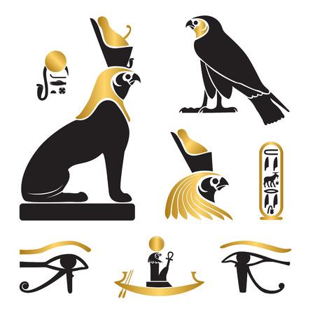 Zestaw sylwetek starożytnego Egiptu - Oko Horusa, Horus jako lew i sokół, barka słoneczna i kartusz