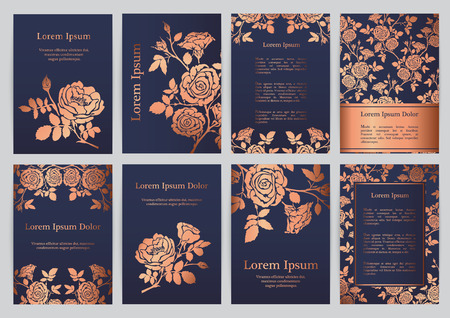 Vector templates for A4 with silhouette english roses. For invitation, banner, postcard or flyer.