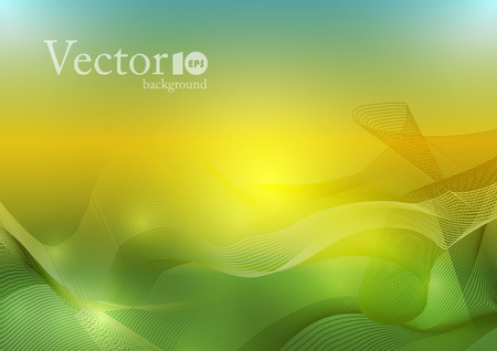Abstract wave background in orange and green color