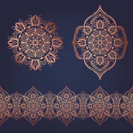 Seamless ornament set, handdrawn copper floral elements Ilustração
