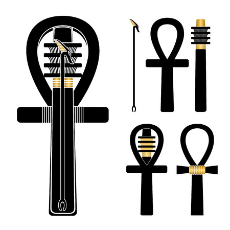 Set of ancient egypt silhouettes - ankh, djed and was-sceptre in different shapes.
