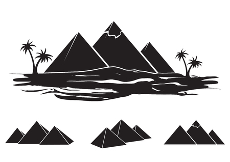 Ensemble de silhouettes de l'Egypte ancienne - pyramides de différentes formes. Vecteurs