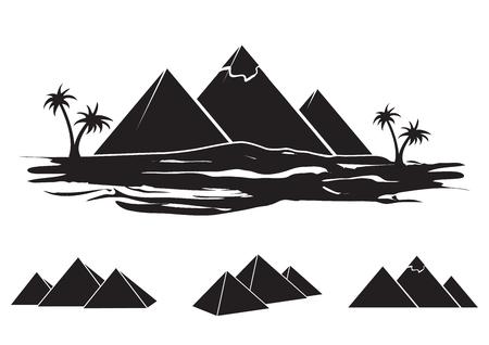 Set von alten Ägypten-Silhouetten - Pyramiden in verschiedenen Formen. Vektorgrafik