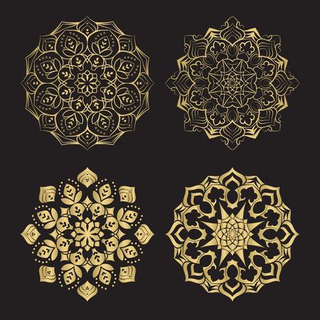Couleur or rond mandalas ornement ethnique abstrait. Basé sur de vieux motifs grecs, arabes et turcs. Pour le textile, les invitations, les bannières et autres