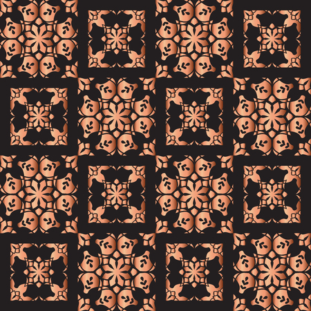 Copper color seamless geometric pattern. Based on old greek, arabic and turkish motifs. For textile, invitations, banners and other