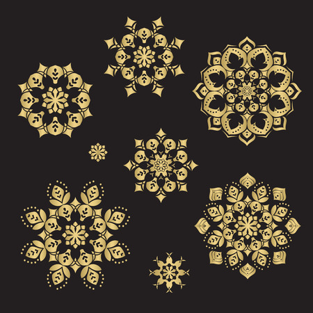 Gold color round abstract ethnic ornament mandalas. Based on old greek, arabic and turkish motifs. For textile, invitations, banners and other Illustration
