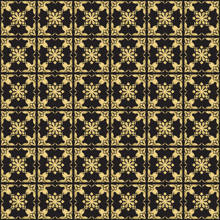 Gold color seamless geometric pattern. Based on old greek, arabic and turkish motifs. For textile, invitations, banners and other