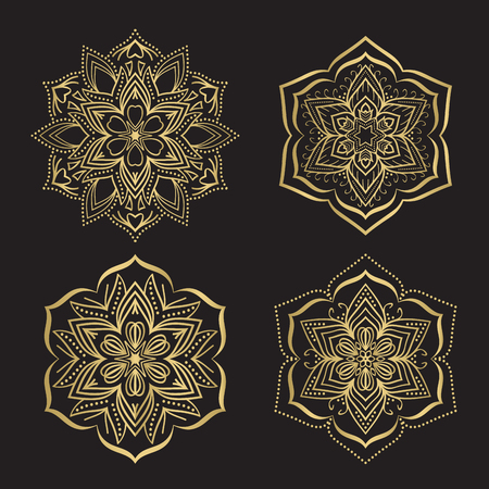 Gold color round abstract ethnic ornament mandalas. Based on old greek, arabic and turkish motifs. For textile, invitations, banners and other Ilustração