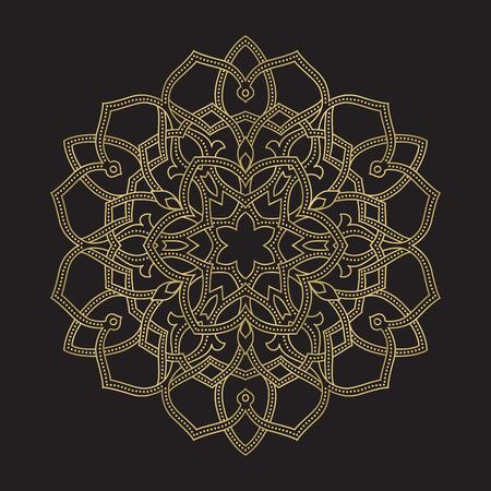 Mandala d'ornement ethnique abstrait rond de couleur or. Basé sur des motifs grecs anciens, arabes et turcs. Pour le textile, les invitations, les bannières et autres Vecteurs
