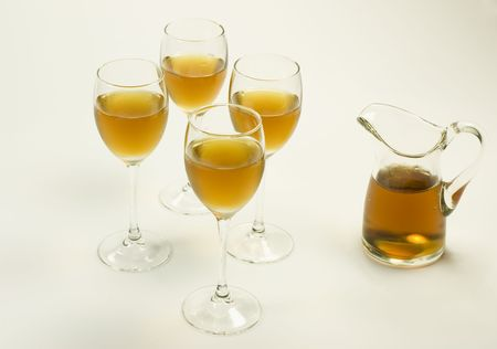 Full Cognac glass set with a full decanter Stock Photo