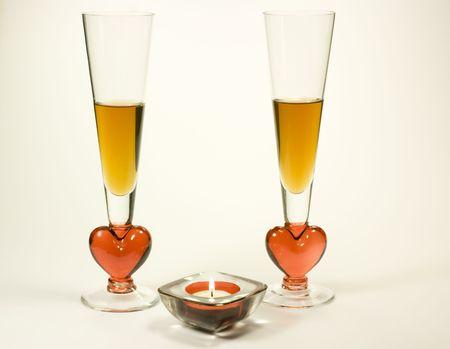 Sc�ne romantique avec champagne et bougies