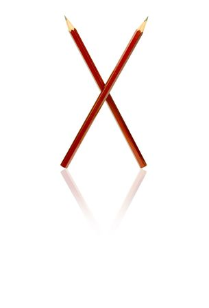 Two red pencils as a x on white background Stock Photo