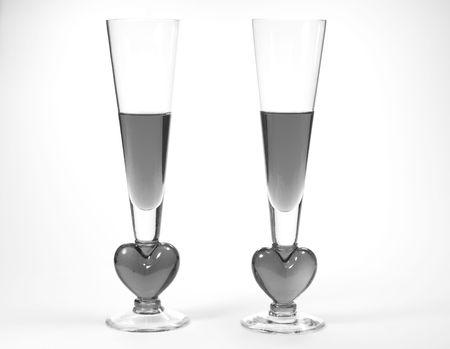 Noir et blanc romantique pleine de verres de boissons