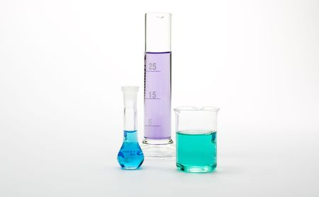 3 different test tubes with colorful liquids photo