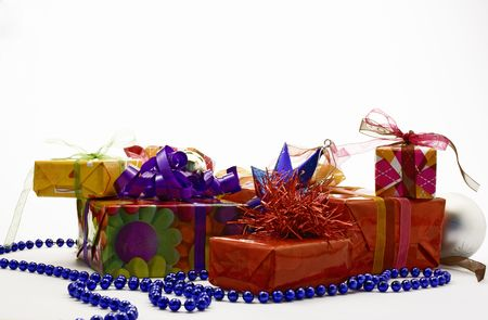 Many gift packages isolated on white background