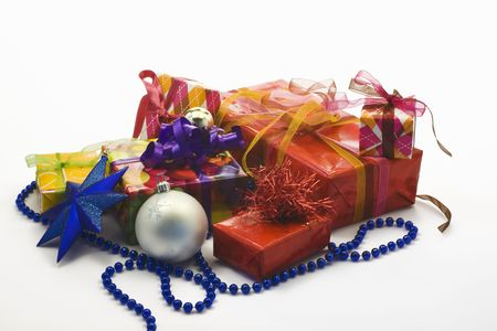 Lots of gift packages isolated on white Stock Photo