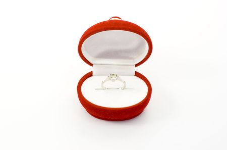 Ring of marriage proposal on white background